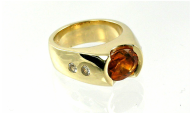 richly-saturated citrine, 14-karat yellow gold gypsy ring setting, flushset diamonds, partial bezel