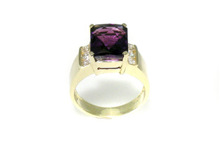checky-top amethyst, yellow gold contemporary ring, channel-set diamonds
