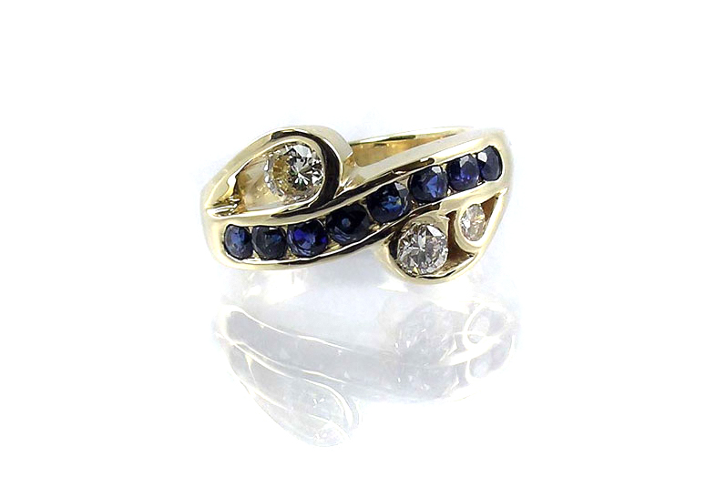 custom designed ring, 14-karat yellow gold, recycled sapphires and diamonds, channel-set