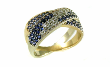 repurposed sapphires and diamonds from boring eternity bands, cross-over two-tone 14-karat yellow and white gold beadset ring