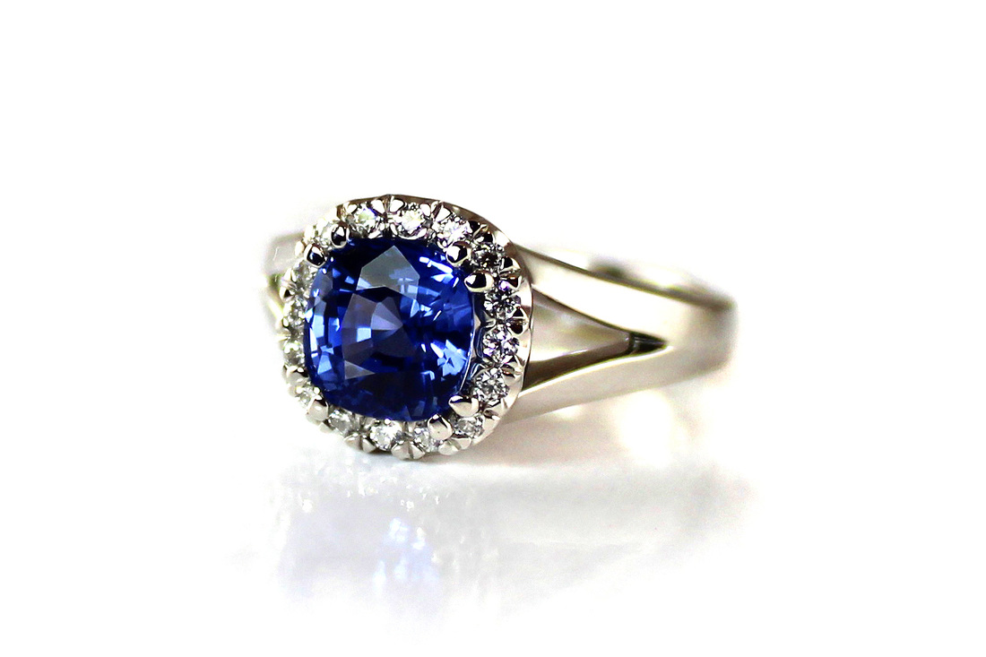 ceylon sapphire, contemporary cushion cut, white gold ring, beadset diamond halo