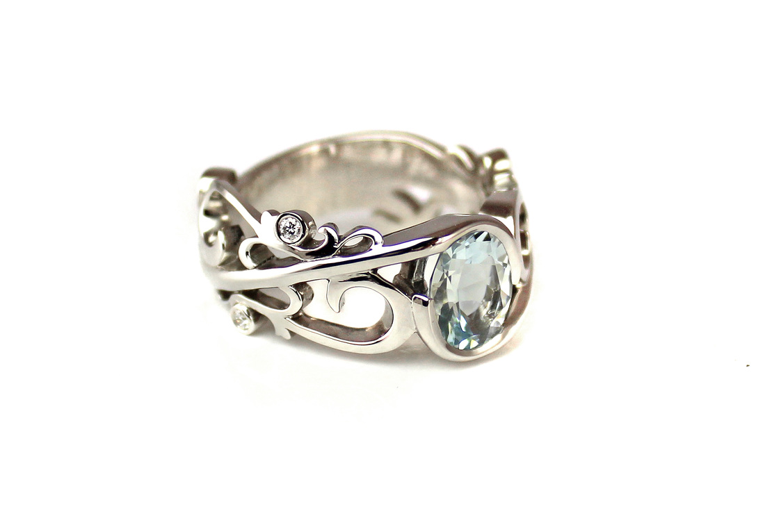 aquamarine, platinum ring, diamond accents