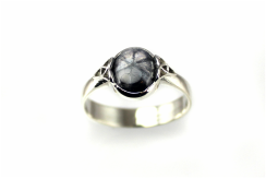 unique trepiche sapphire cabochon, custom-designed 14-karat white gold ring with trefoil accents, weighted shank