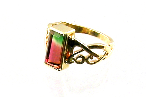emerald-cut watermelon tourmaline, partial bezel setting, openwork ring, 14-karat yellow gold, Celtic knotwork ring