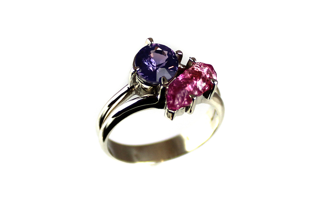 custom-designed ring for customer's purple sapphire and uncut pink tourmaline crystal, split shank, weighted shank, 14-karat white gold