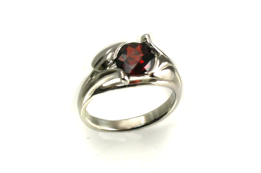 custom designed engagement ring, 14-karat white gold leaf and vine motif, checky-top red garnet