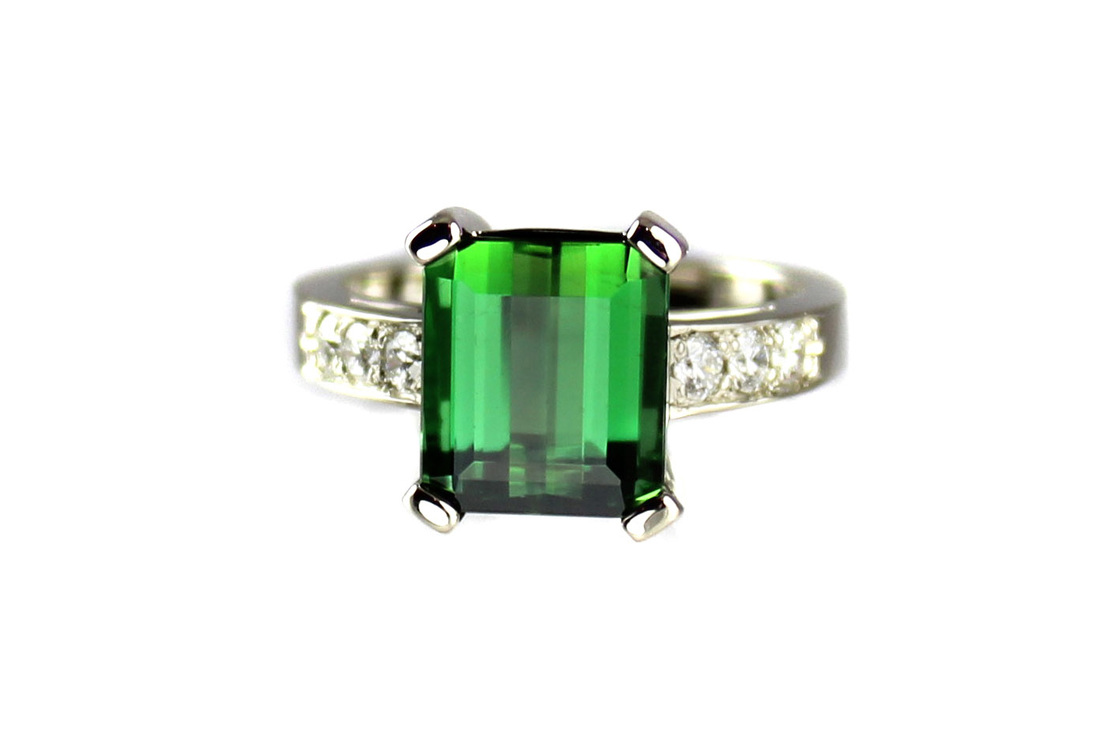 fancy green tourmaline, custom-designed engagement ring, beadset diamond shoulders, 14-karat white gold, prongs